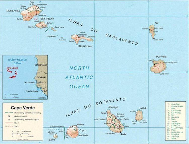 cabo verde mapa Cabo Verde: Mapa Completo de las Islas Africanas cabo verde mapa